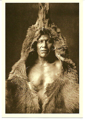 Postcard Native American Indian Bear's Belly Arikara from Edward S. Curtis Photo