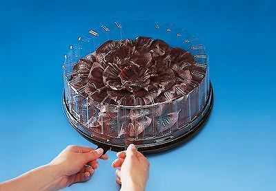 "Black Round Plastic Cake Box  With Clear Plastic Lid For Up To 10"" Diameter Cake"