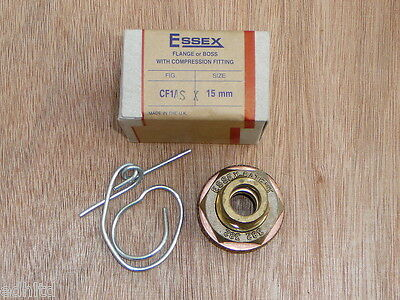 Essex 15mm CF1/SX Flange Boss with stop end for flat curved copper cylinder tank