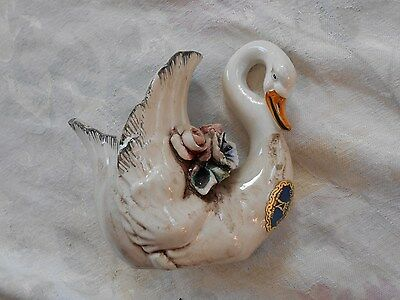 Vintage Capodimonte Swan, Made in Italy, Porcelin