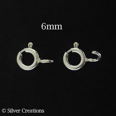 200pcs Sterling silver bolt spring ring clasps 6mm jewellery making findings