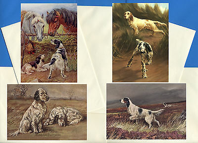 English Setter Pack Of 4 Vintage Style Dog Print Greetings Note Cards #1
