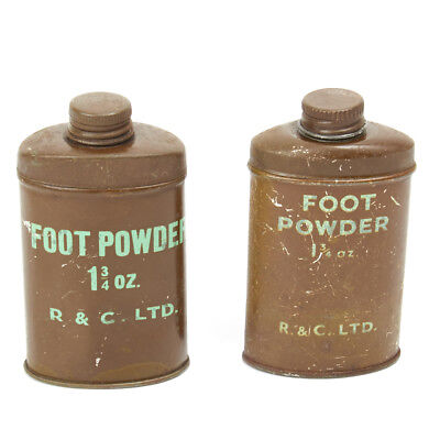 Original WWII British Army Foot Powder, Unissued- Set of 2