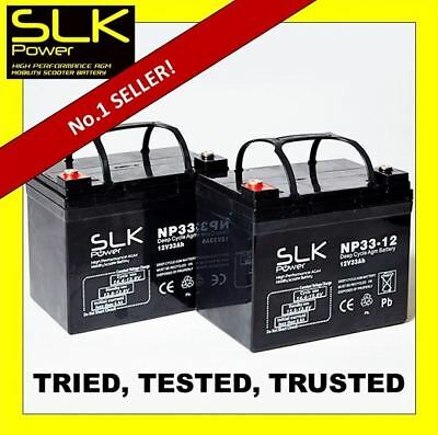 2 12v 33AH SLK POWER MOBILITY SCOOTER AGM/GEL BATTERIES REPLACE 32AH 34AH 35AH