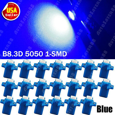20X ULTRA BLUE T5 Wedge B8.3D 5050 1SMD Car Dashboard Instrument Panel LED Light