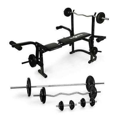 Home Multi Gym Weight Bench Machine 18 Piece Iron Barbell Set *free P&p Uk Offer