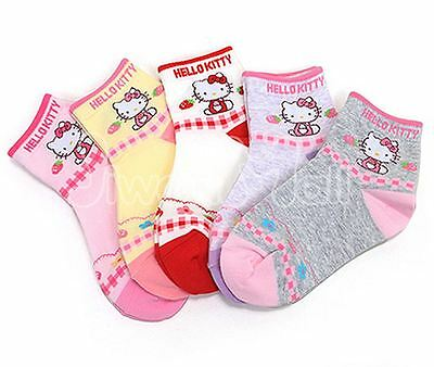 Authentic 5 Hello Kitty Strawberry Socks Toddler Girl Pink Xmas Birthday Gift