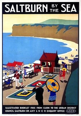 Vintage Railway Advertising  rail travel poster  A4 RE PRINT Saltburn by the Sea