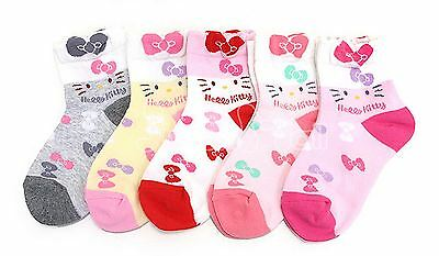 Authentic 5 Pairs Hello Kitty Ribbon Socks Girls Kids Pink Xmas Birthday Gift