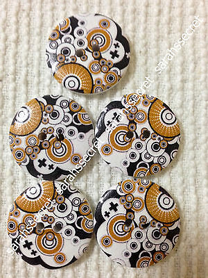 5 x LARGE WOODEN BUTTONS with BLANK DESIGN - 30mm  - #B356