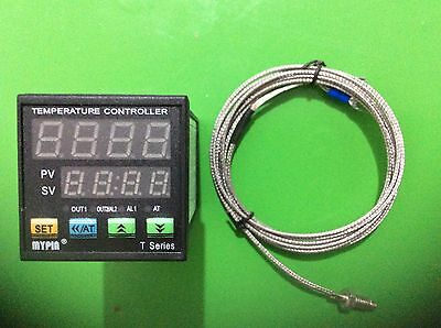 MYPIN Dual Digital F/C PID Temperature Controller TA4-SSR + K thermocouple
