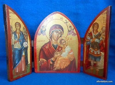 Byzantine Art Triptych Icon 3 Arched Wood Panel Religious Mary Jesus Archangels