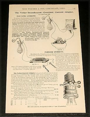 1894 Wocher Surgical Catalog Page 107, Vetter Current Adapter, Faradic, Edison!
