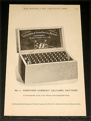 1894 Wocher Surgical Catalog Page 113, No. 1 Constant Current Galvanic Battery!