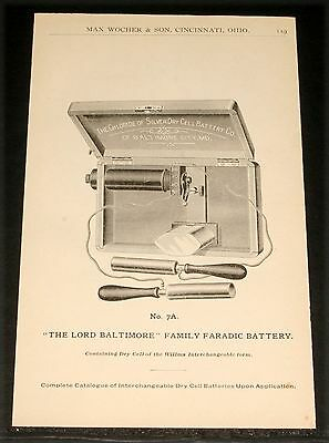 1894 Wocher Surgical Catalog Pages 118 & 119, Lord Baltimore 7A Faradic Battery!