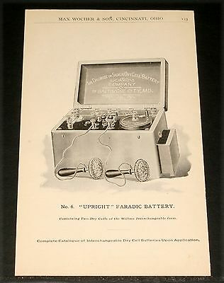 "1894 Wocher Surgical Catalog Pages 122 & 123, No. 6 ""upright"" Faradic Battery!"