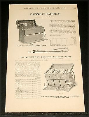 1894 Wocher Surgical Catalog Page 133, Flemming's Batteries,for Physicians Use!