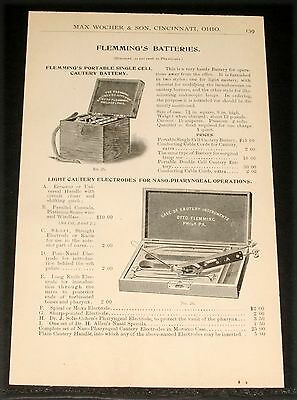 1894 Wocher Surgical Catalog Page 139, Flemmings Batteries, Cautery Instruments!