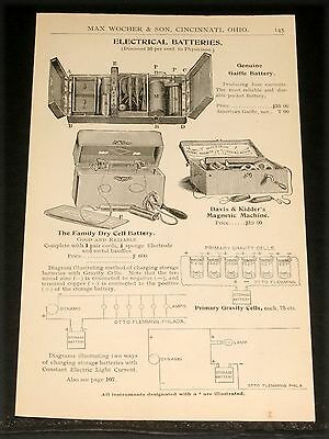 1894 Wocher Surgical Catalog Page 145, Gaiffe And Galvano Faradic Batteries!
