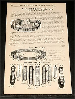 1894 Wocher Surgical Catalog Page 162, Voltaic Electric Belt, Armadillo Soles!