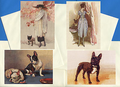 French Bulldog Pack Of 4 Vintage Style Dog Print Greetings Note Cards #3