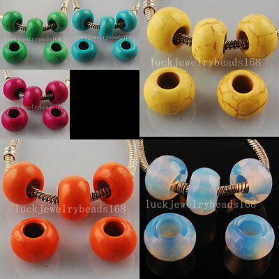 9x14mm Opilite Opal Howlite Turquoise Abacus Bead For Charm Bracelet 5pcs WFH046