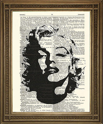 MARILYN MONROE PRINT: Vintage Movie Star Art on Antique Dictionary Page!