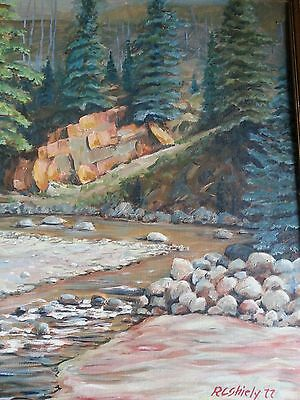 Very Attractive Colorful Signed Oil On Canvas Landscape With River In Forest!