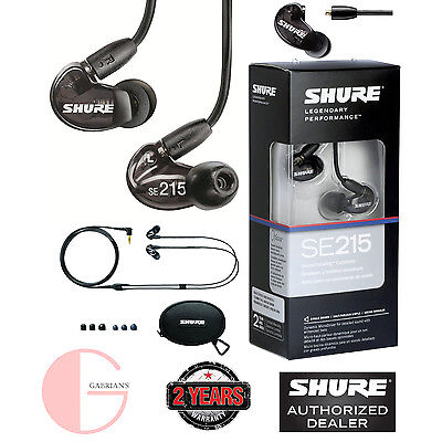 Shure SE215-K Sound Isolating Earphones (Black). U.S Authorized Dealer