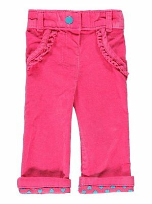 Baby Girls Ex Store Pink Corduroy Warm Winter Trousers Bottoms
