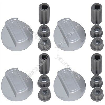 4 X Hotpoint Universal Universal Cooker/Oven/Grill Control Knob And Adaptors Sil