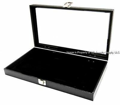 1 Key Lock Black Pad Display Box Case Militaria Medals Pins Jewelry Awards Knife