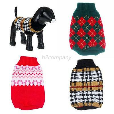 Pet Dogs Knit Jumper Sweater Coat Clothes Small Puppy Patterned Apparel 6 Sizes