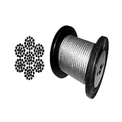 """7 x 19 Black Aircraft Cable Wire Rope 1/8"""" - 100 ft"""