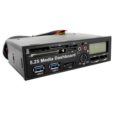 5.25 USB Media Dashboard LCD Front Cool Panel All-in-one Card Reader PCI-E PCIE