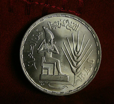 1 Pound AH1396 1976 Egypt Silver World Coin Unc Osiris seated F.A.O. Africa