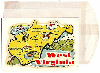 West Virginia Window Decal State Map & Illustrations 1951 Souvenir DECAL