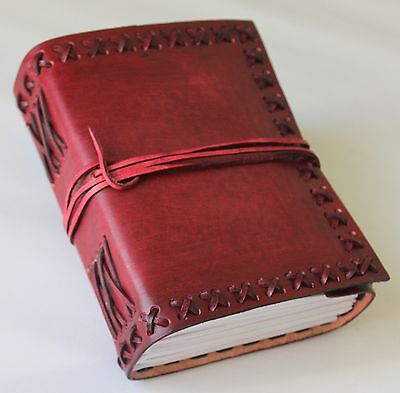 Classic Luxury Handmade Leather Journal Diary with cross stitches+leather strap