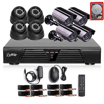 8CH Channel HDMI DVR Outdoor Indoor CCTV Video Home Security Camera System 1TB