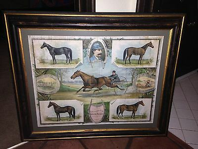 Antique 1887 D.M. Osborne Harvesting Gambling Advertising Picture Horse Racing