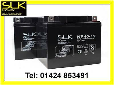 2 x 12v 40amp SLK POWER PREMIUM MOBILITY SCOOTER WHEELCHAIR AGM/GEL BATTERIES