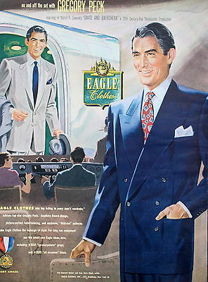 1954 EAGLE CLOTHES MENS CLOTHING ACTOR GREGORY PECK Print ad