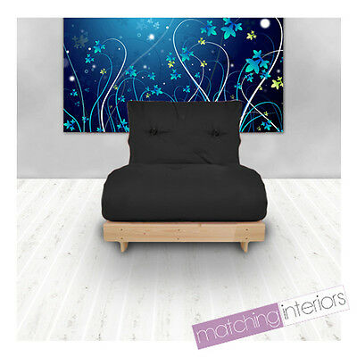 Black Budget Single Futon Cotton Mattress 1 Seater Sofabed Sofa Guest Armchair