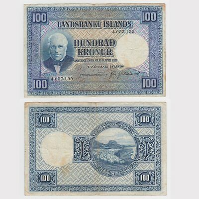 ICELAND - 100 KRONUR DATED 1928 - Pick ref: 35a - F condition