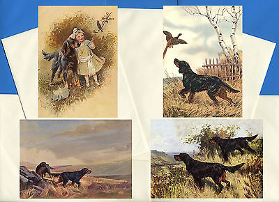 Gordon Setter Pack Of 4 Vintage Style Dog Print Greetings Note Cards #1