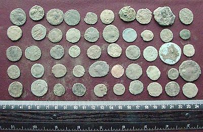 Lot of 50 Authentic Ancient Roman Coins   Mostly 3rd to 5th Centuries A.D. 12422