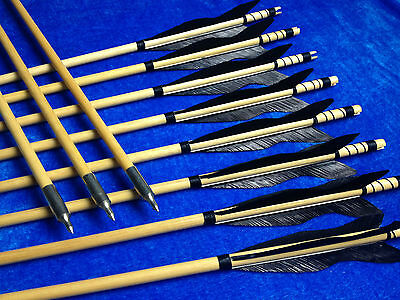 Tradition X12 Black Turkey Feather wood arrows Archery For Recurve Longbow 125gr