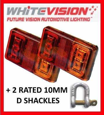 PAIR OF SUBMERSIBLE LED TRAILER LIGHTS & 2 x 10MM RATED D SHACKLE TAIL BOAT