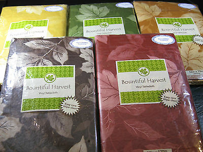 Bountiful Harvest  Vinyl Tablecloths-Leaves-  Assted. Sizes & Colors- New