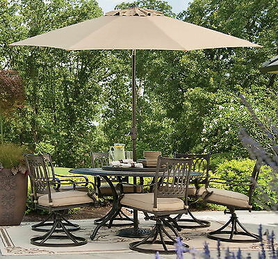 """New 9 pc Outdoor Dining Furniture Set 60"""" Round Table 6 Rocker Chairs Patio Seat"""